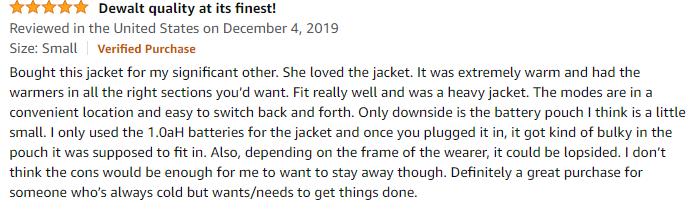 DeWalt heated jacket reviews