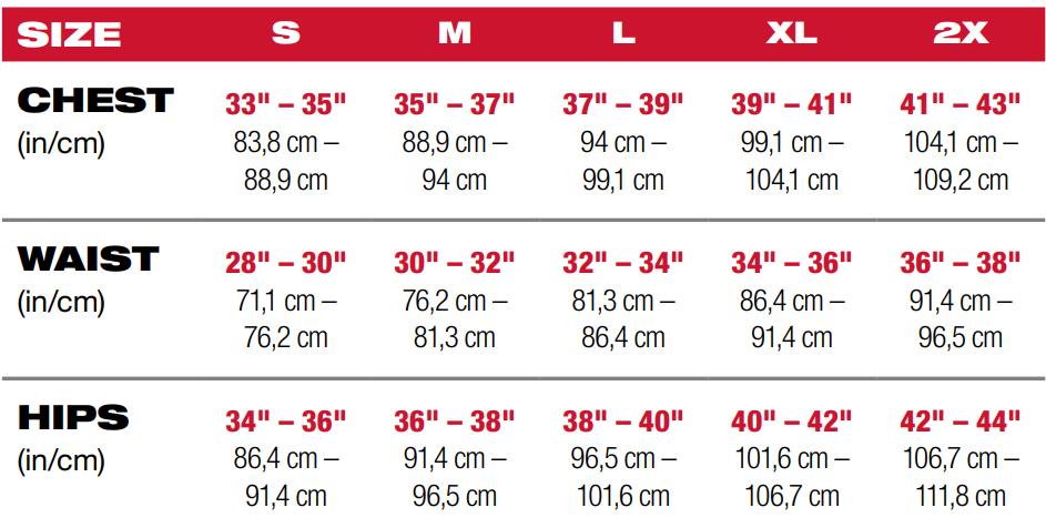 Milwaukee heated jacket size chart for female