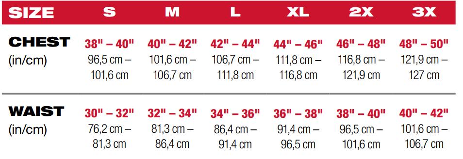 Milwaukee heated jacket size chart for male