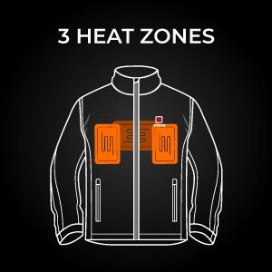 Ororo men heated jacket heat zones