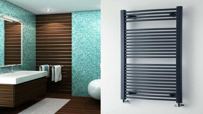 best heated towel rack hung in a bathroom